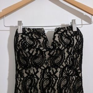 Dresses & Skirts - Lace Black & Tan Strapless Fitted Evening Dress